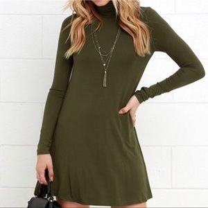 Lulus - Olive Green swing dress